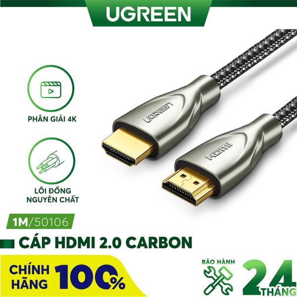 Cáp HDMI 2.0 Carbon chuẩn 4K/60Hz dài từ 1-5m UGREEN HD131 - Hãng phân phối chính thức