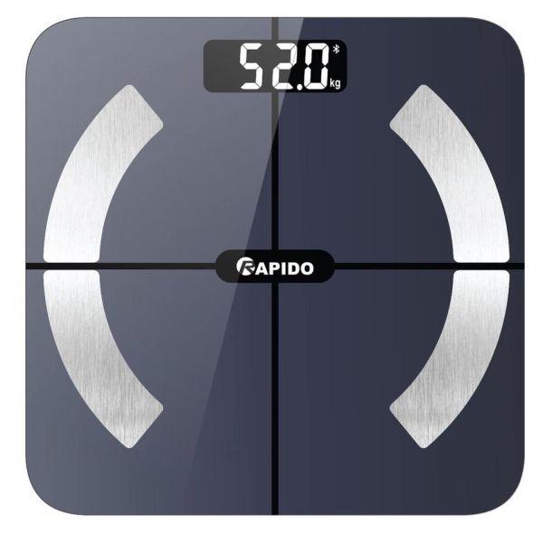 Cân Điện Tử Theo Dõi Sức Khỏe RAPIDO. Cân sức khỏe điện tử thông minh Rapido RSB02-S phân tích chỉ số cơ thể, có Bluetooth - Hàng chính hãng, Bảo hành 12 tháng