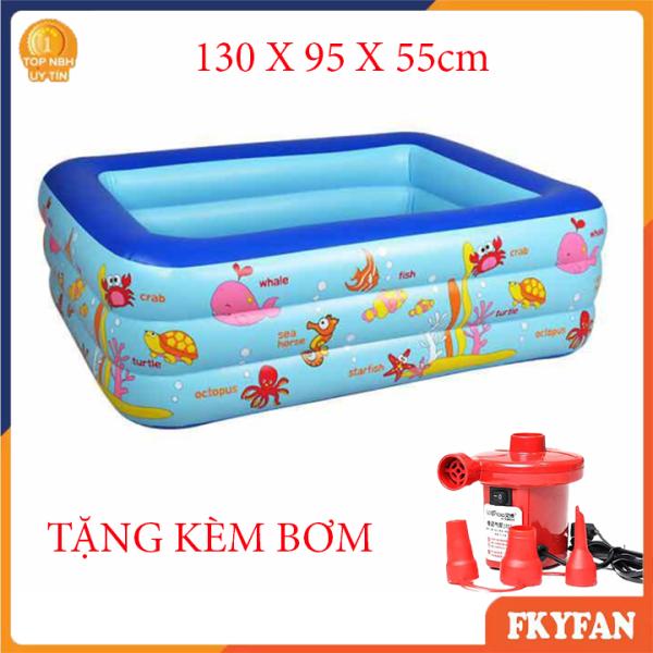 [TẶNG BƠM ĐIỆN - KEO DÁN] Bể bơi bơm hơi,  130 X 90 X 55 cm.  bể bơi mini gia đình, tam be boi tre em, Bể bơi phao Cỡ lớn cho bé và gia đình - Bể bơi phao 3 Tầng cỡ lớn:loại dày tặng kèm Miếng Vá, hồ tắm cho trẻ em - M3