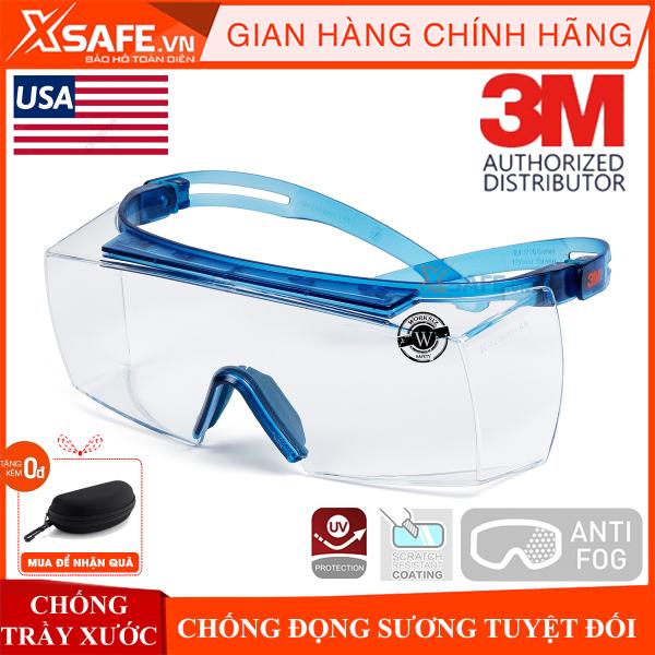 Kính bảo hộ 3M SF3701ASGAF-BLU kính Super OTG đeo ngoài kính cận, chống trượt, chống hơi nước, trầy xước vượt trội, ngăn chặn tia UV, dùng cho lao động, thể thao, đi xe máy, phòng dịch, chính hãng [XSAFE] [XTOOLS]