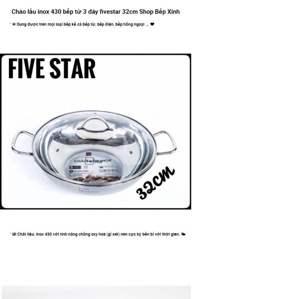[ảnh thật] Chảo lẩu inox FiveStar bếp từ 3 đáy 32cm nắp kính INOX 430 CỰC BỀN