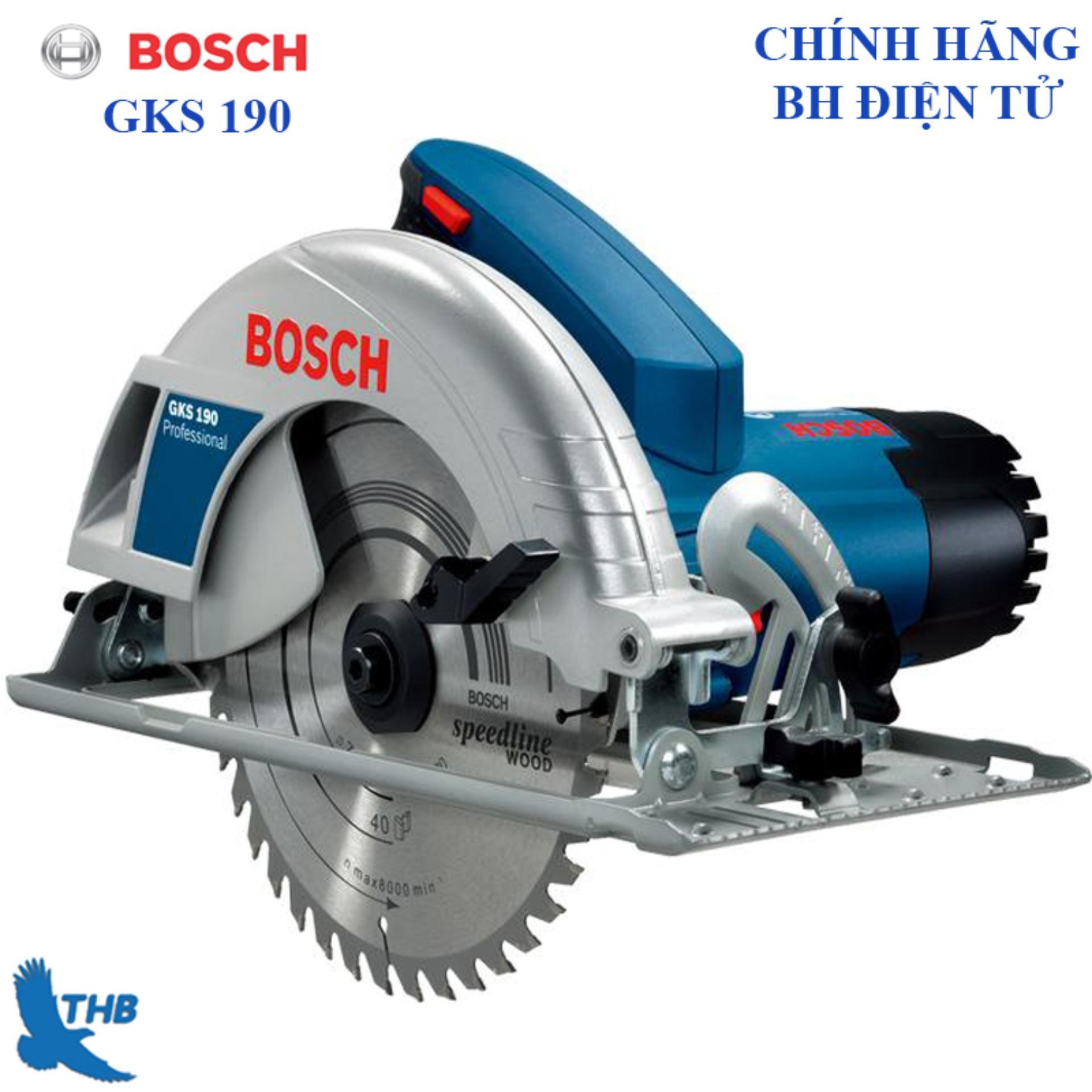 Máy cưa đĩa Máy cưa gỗ Bosch GKS 190 Đường kính lưỡi 184mm Công suất 1400W Bảo hành 6 tháng