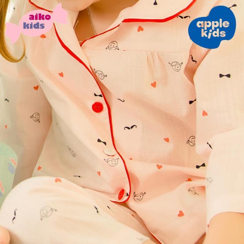 Nơi bán Pijama linen đỏ cho bé gái, thiết kế và sản xuất tại Việt Nam.