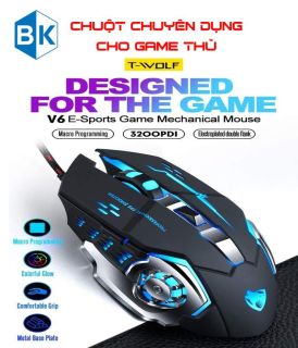 [HCM]Chuột Game thủ cực bền thiết kế độc lạ có LED nhiều màu T-WOLF V6 độ nhạy cực cao 3200DPI thumbnail