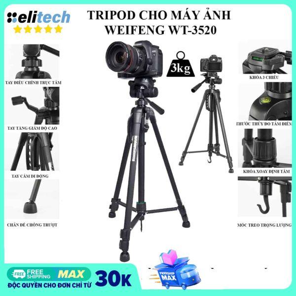 Tripod chân máy ảnh Weifeng WT-3520 khung nhôm cao cấp cao 1.4m chịu tải 3kg hỗ trợ chụp hình quay video livestream có quai cầm tay móc treo và túi đeo