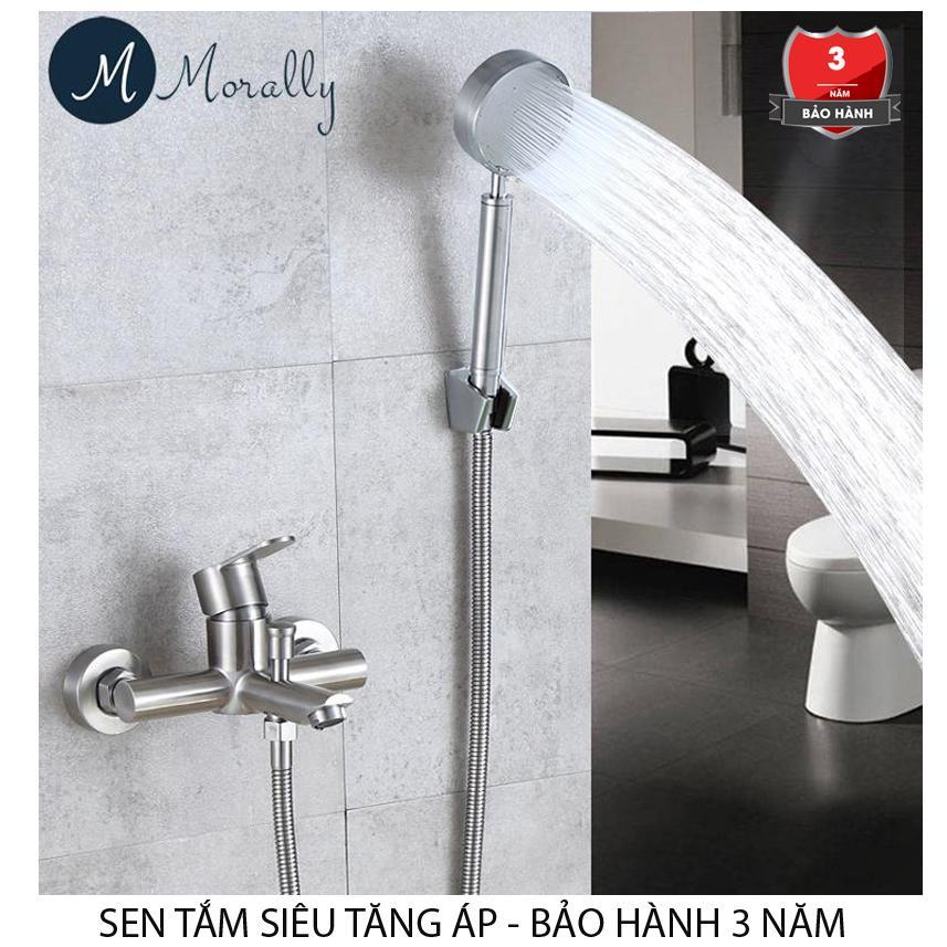 Bộ vòi sen tắm inox 304 NÓNG LẠNH tay sen siêu tăng áp KD-STA (Trắng Bạc)
