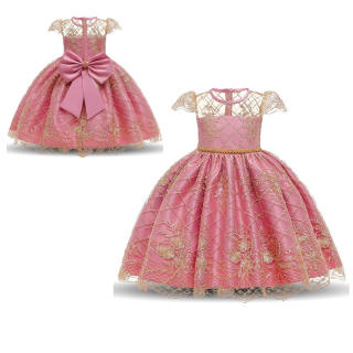 NNJXD Bé gái Váy ren thêu ren trang nhã Váy hồng Năm mới Công chúa Trẻ em Váy dự tiệc Áo cưới Trẻ em Váy cho bé gái Váy dự tiệc sinh nhật Mặc đồ