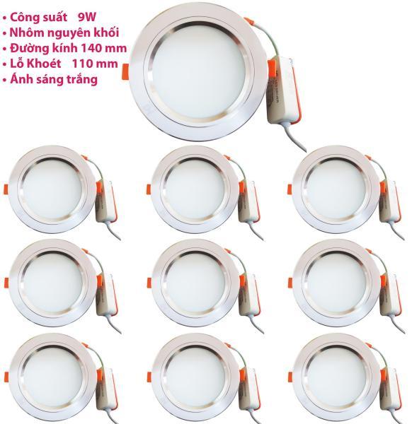 Bộ 10 đèn led âm trần 9w viền bạc ánh sáng trắng
