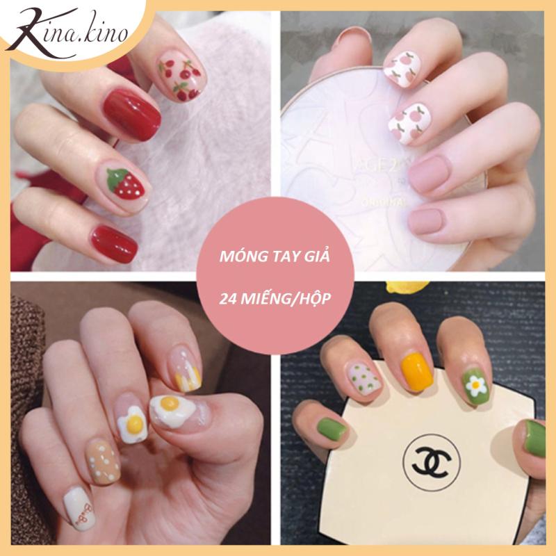 [TẶNG KEO ] Set 24 móng tay giả cao cấp- Có hơn 30 mẫu móng tay từ sang trong tới kute- KinaKino giá rẻ