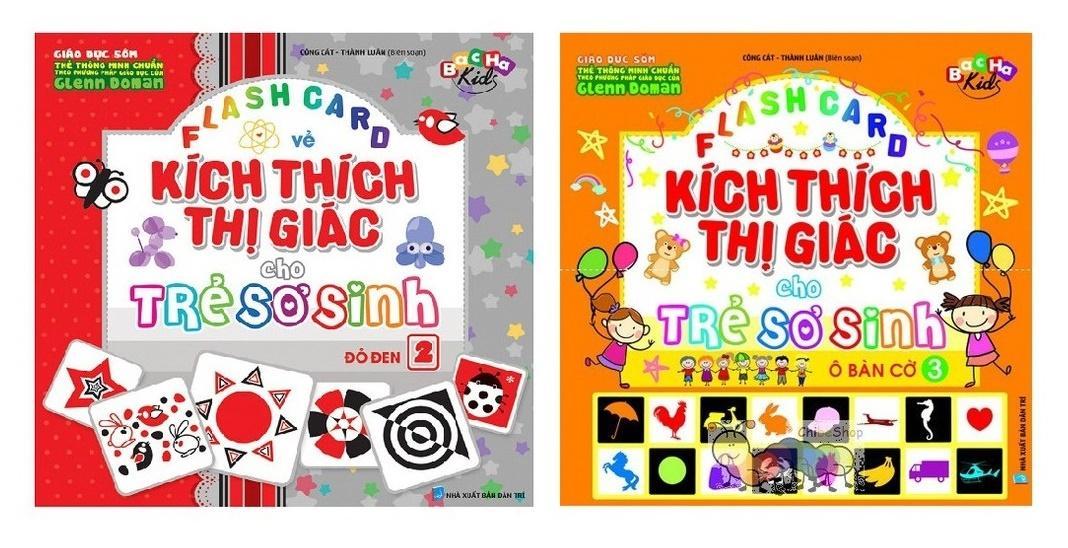 Mua Sách - Flash card Dạy Trẻ Theo Phương Pháp Glenn Doman - Kích Thích Thị Giác Cho Trẻ Sơ Sinh Đỏ Đen và Ô Bàn Cờ
