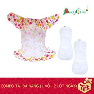 Combo tã vải Đa năng BabyCute size L (14-24kg) (1 Vỏ + 2 Lót) mặc ngày và đêm - Giao mẫu ngẫu nhiên thumbnail