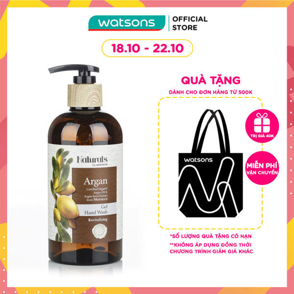 Gel Rửa Tay Naturals By Watsons Chiết Xuất Argan 400ml nhập khẩu