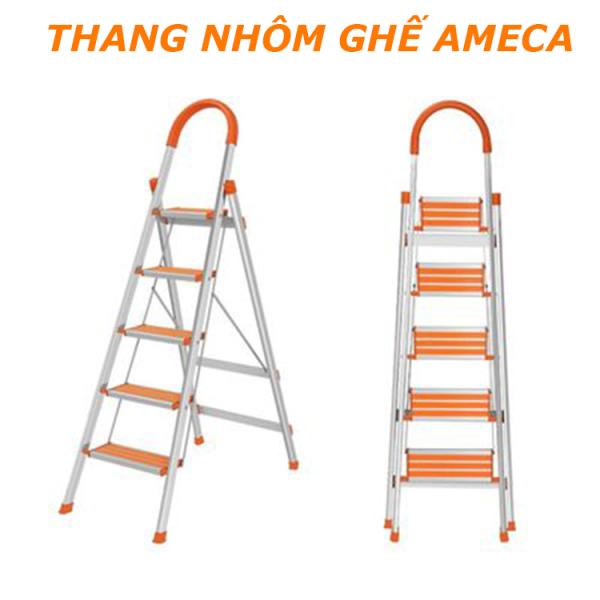 [HÀNG CAO CẤP] Thang nhôm ghế inox AMECA - Thang  gấp gọn AMECA- 3 đến 6 bậc gọn nhẹ - Bảo hành 12 tháng - Thang nhôm gia đình - Inox 304 - Chống gỉ - Có tay vịn chắc chắn - Chịu lực lớn