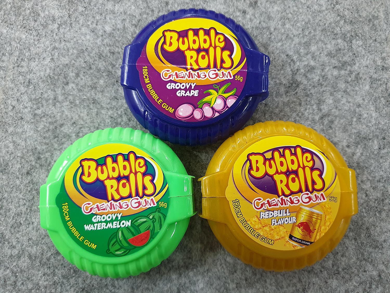 [Hot] Combo 3 Hộp kẹo Singum ( cao su ) cuộn siêu dài Hubba Bubba bubble rolls chewing gum dài 180cm vị Red Bull ( Bò húc ), vị Dưa Hấu, Vị Nho ( Mẫu mới  - Nội địa Thái Lan - Xách tay Thái ) )