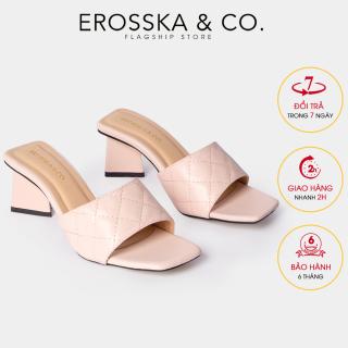 Dép nư , de p cao go t Erosska thời trang mũi vuông quai ngang phối gót sơn gỗ kiê u da ng thanh li ch cao 5cm EM045 (NU) thumbnail