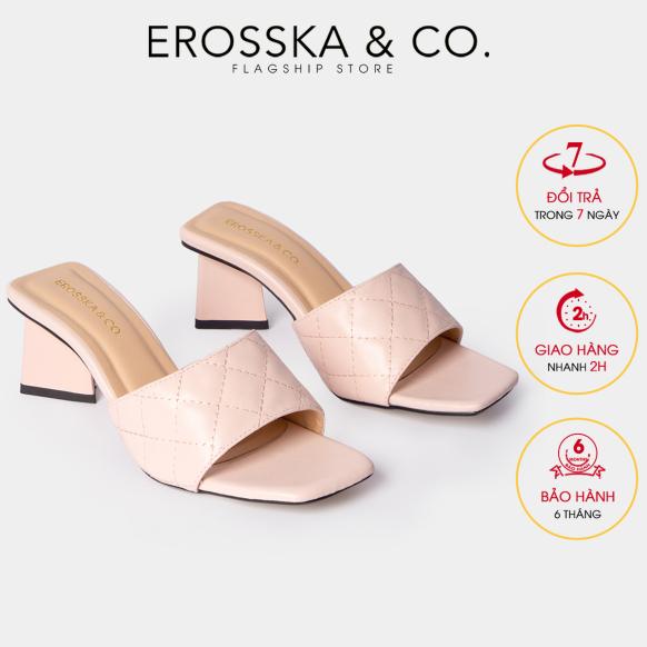 Dép nữ, dép cao gót Erosska thời trang mũi vuông quai ngang phối gót sơn gỗ kiểu dáng thanh lịch cao 5cm màu nude - EM045 giá rẻ