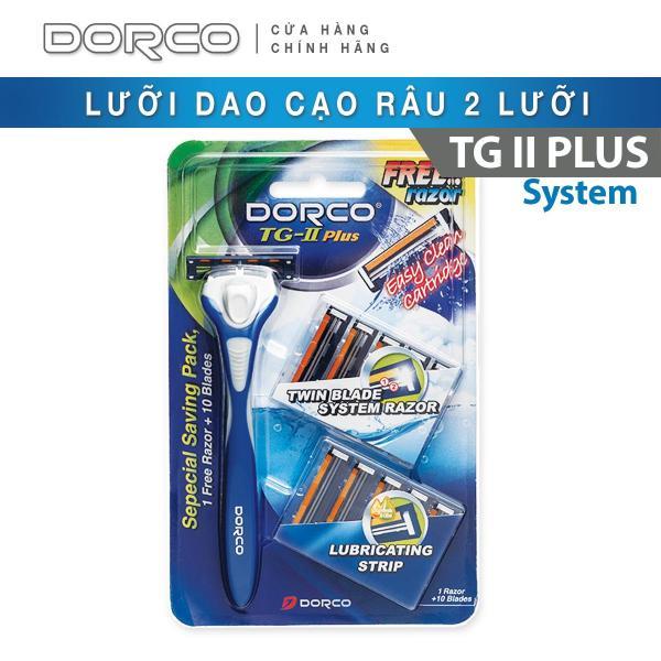 Dao cạo râu 2 lưỡi DORCO TG-II Plus System + 10 đầu thay thế