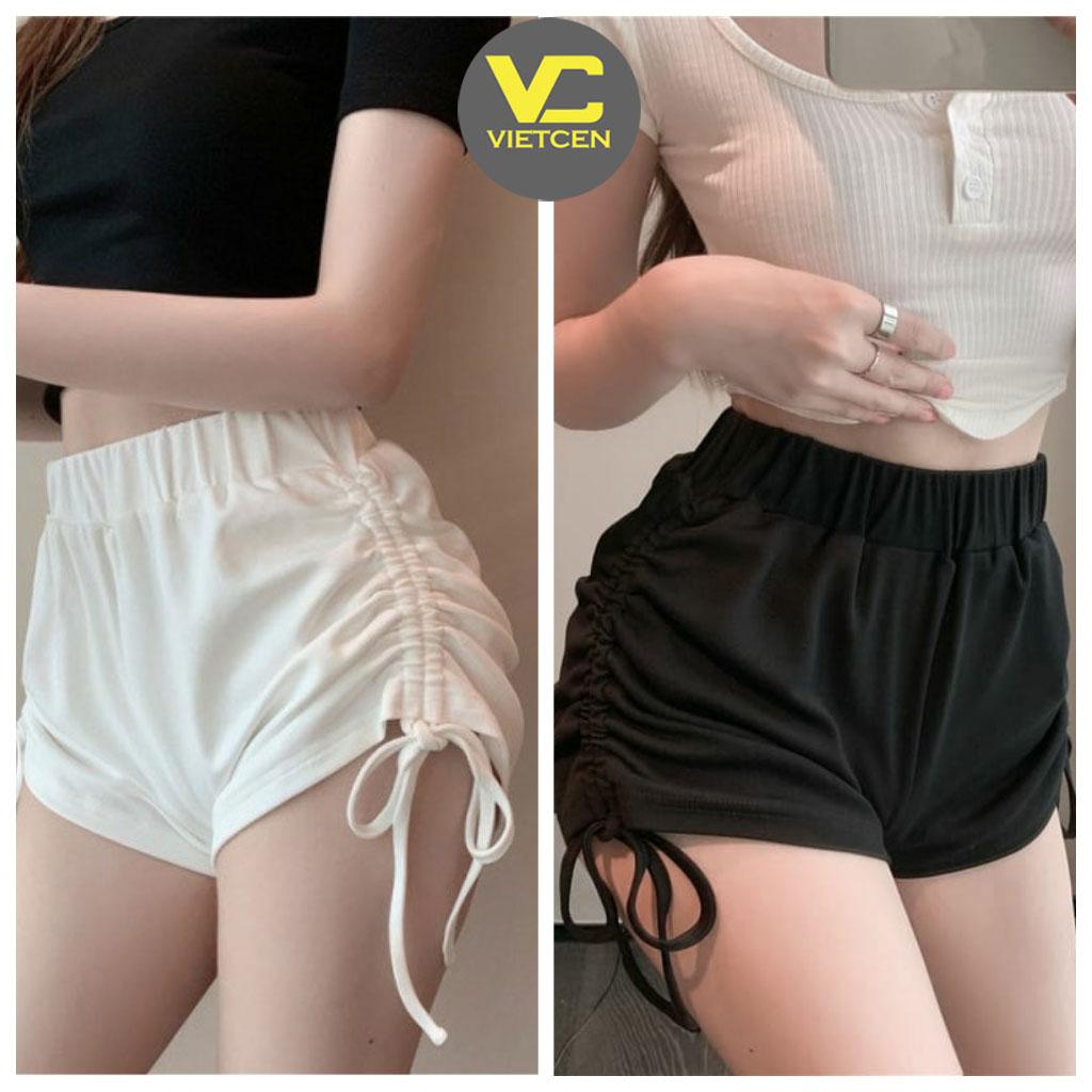 Quần đùi nữ mặc nhà RÚT DÂY quần short ngắn cạp chun chất thun lạnh co dãn Ulzzang - VIETCENVN