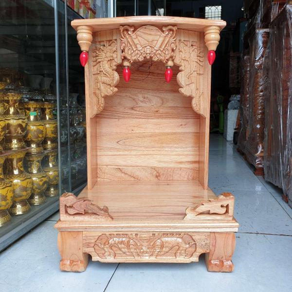 Bàn thờ thần tài ông địa gỗ xoan ngang ngang 42 cm chân quỳ