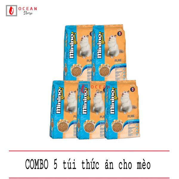 (COMBO 5 GÓI) Thức ăn cao cấp vị hản sản cho mèo - Thức ăn Minino Yum 350g (cho mọi lứa tuổi)