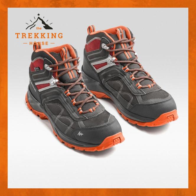 Giày leo núi trekking cổ lửng chống thấm nước, giày phượt dã ngoại outdoor Quechua Xám-Cam giá rẻ