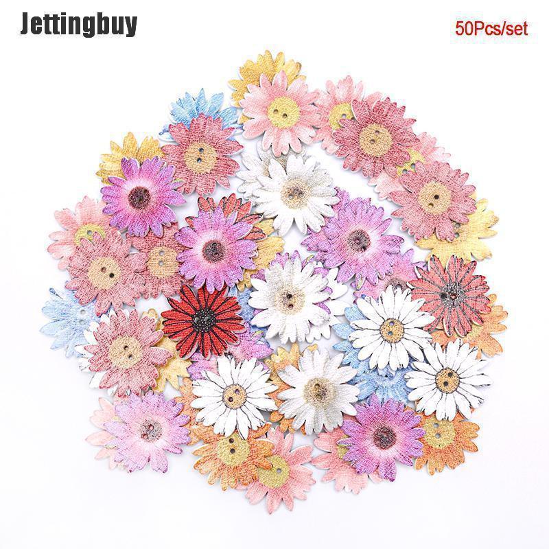 Jettingbuy 50 Cái Loạt Hoa Nút Gỗ May Album DIY Quần Áo Bằng Gỗ Trang Trí