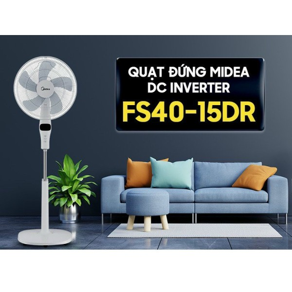 Quạt đứng Midea DC FS40-15DR-Điều khiển từ xa- Màn hình LED- Với 12 tốc độ- gió 3 chế độ gió tùy chỉnh - bảo hành 1 năm