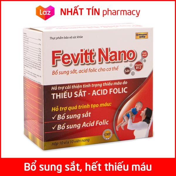 Viên uống Fevitt Nano bổ sung Sắt, Acid Folic cho người thiếu máu não, phụ nữ mang thai và sau sinh - Hộp 100 viên dùng 100 ngày