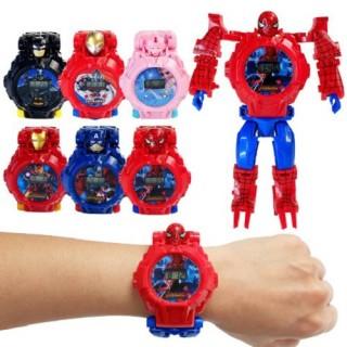 Đồng hồ biến hình robot, lắp ráp xe siêu anh hùng cho các bé siêu nhân nhện, người sắt. thumbnail