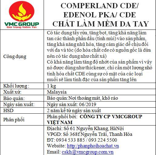 1KG CDE ( DẠNG NƯỚC ) COMPERLAND CDE/ EDENOL PKA/ CDE( CHẤT LÀM MỀM DA TAY )