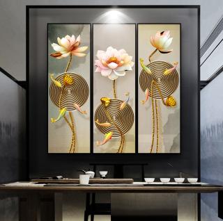 Tranh treo tường hoa sen 3d in trên canvas có khung, trang trí phòng khách, phòng ngủ ( 10014308) thumbnail
