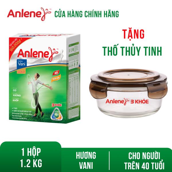 [GIẢM 40K + TẶNG BÁNH ĐƠN 599K]Hộp sữa bột Anlene Gold Movepro Vanilla 1.2kg Tặng 1 thố thủy tinh