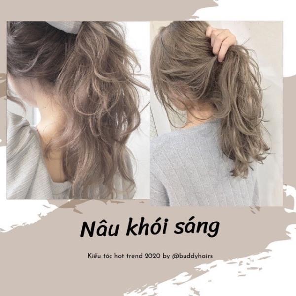 Tự nhuộm tóc màu Nâu khói sáng tại nhà, hàng nội địa Việt Nam, không gây hư tổn cho tóc (Trọn bộ tặng gang tay, trợ nhuộm)
