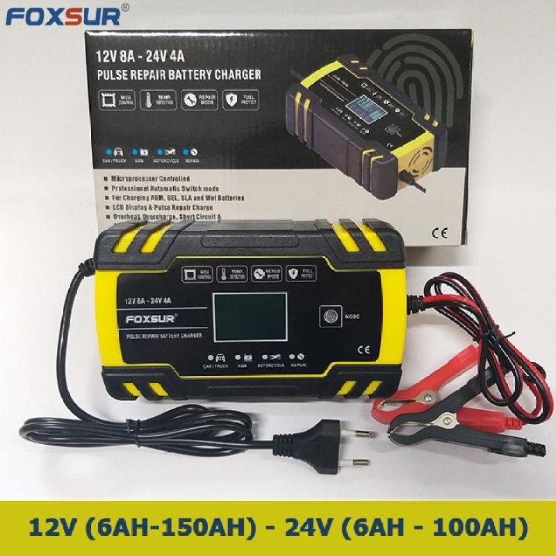 Sạc bình ắc quy 12V 6Ah - 150Ah 24V 6Ah - 100Ah FOXSUR tự ngắt khi đầy chức năng bảo dưỡng phục hồi ắc quy bằng khử sunfat