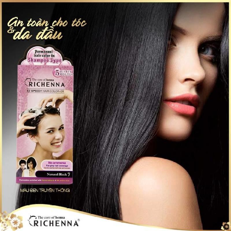 Gội nhuộm phủ bạc thảo dược Richenna EZ Speedy Hair Color-EX Hàn Quốc cao cấp