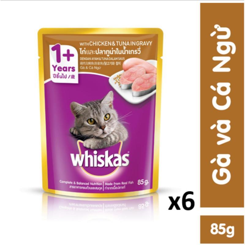 Bộ 6 túi thức ăn mèo lớn Whiskas vị gà & cá ngừ 85g