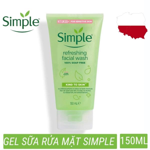 Sửa rửa mặt dạng gel simple refreshing facial wash nhẹ nhàng lấy sạch bụi bẩn trên da, cho da cảm giác mịn màng (150ml) giá rẻ