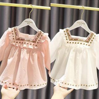 Oyamerbaby Baby Girl Spring Hàn Quốc Tươi trẻ sơ mi công chúa búp bê dễ thương