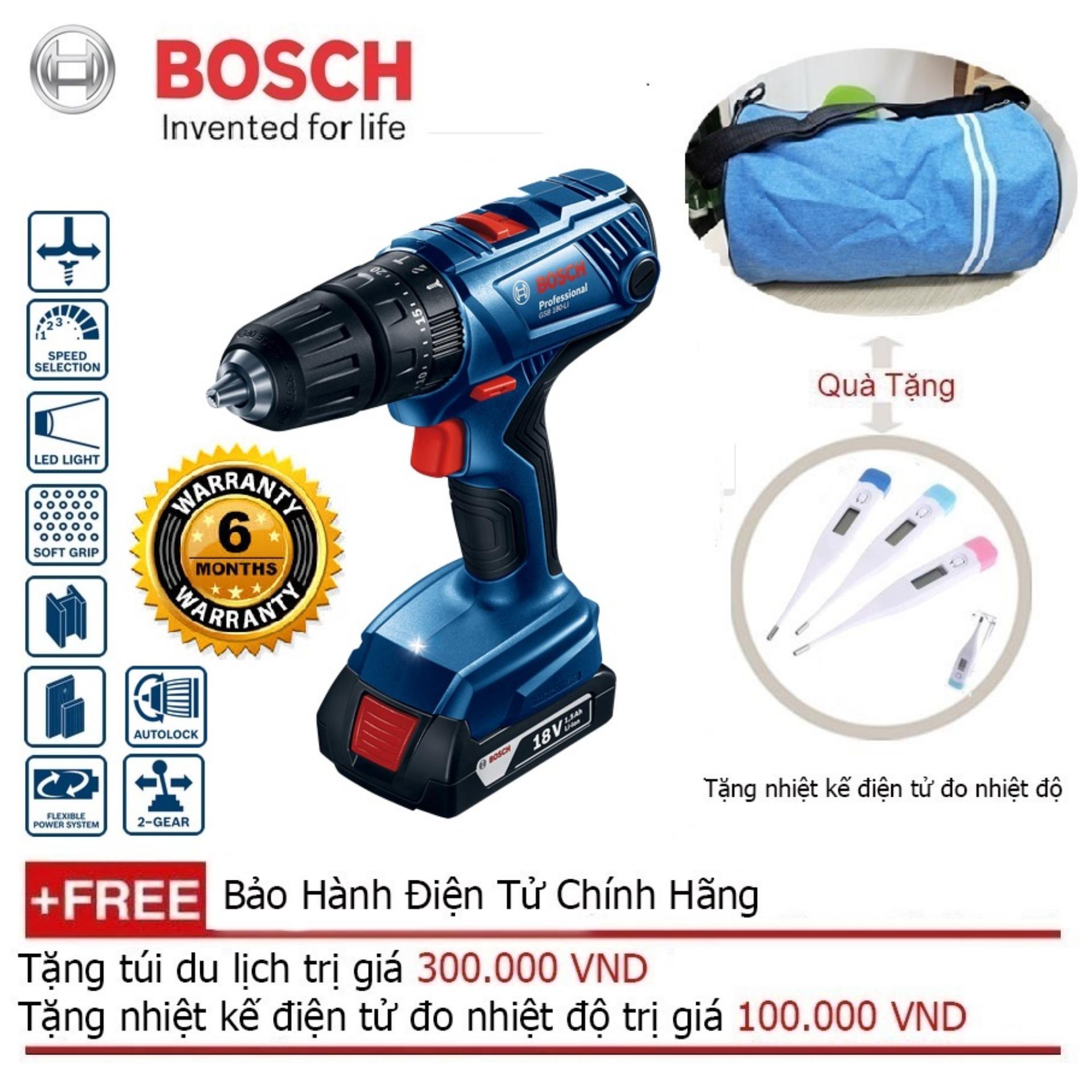 Máy khoan động lực dùng pin Bosch GSB 180-LI + Quà tặng balo du lịch