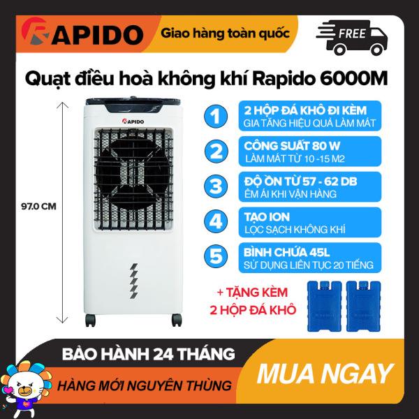 Quạt điều hòa không khí Rapido 6000M Làm Mát Dưới 25m2, Bình Chứa 45L, Điều Khiển Cơ, Công Suất 80W, Tự Tắt Bơm Khi Hết Nước, Quạt Làm Mát Giá Rẻ - Bảo Hành 2 Năm