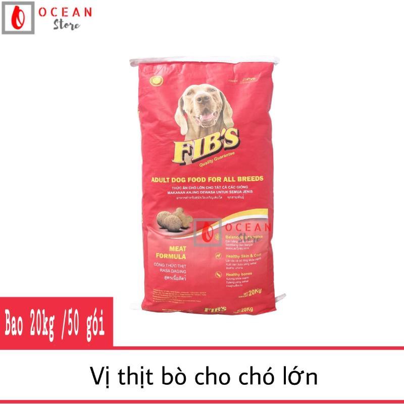 [BAO BÌ MỚI] Thức ăn cho chó vị thị bò - Thức ăn cho mọi loại chó - Fibs 400g (1 bao 20kg/50 gói 400g)