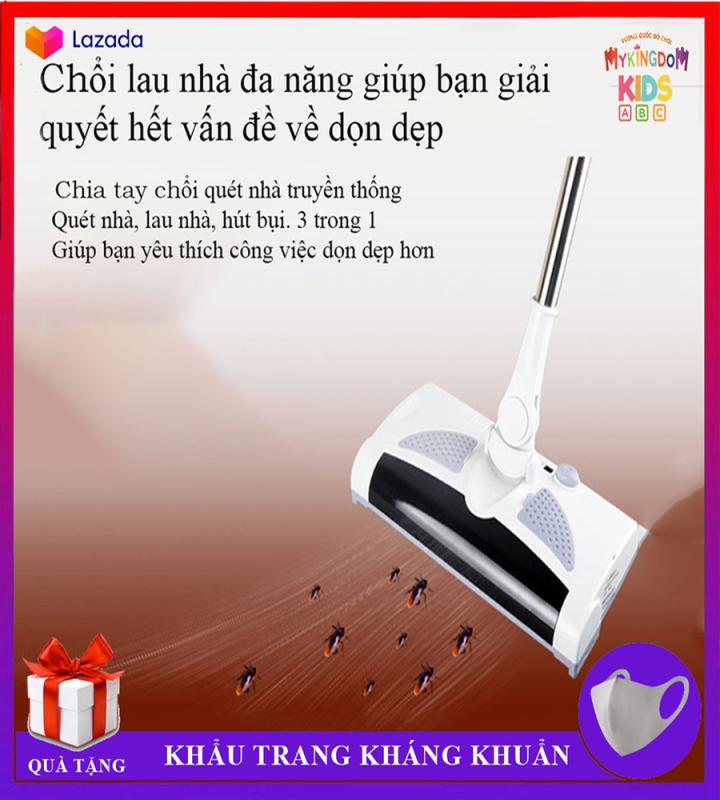 Chổi Lau Nhà Hút Bụi Wolter Sweeper - Không Dây - Sạc Điện - 3 Trong 1 Vừa Lau Nhà Vừa Hút Bụi Lại Không Cần Dây - Bảo Hành Đến 12 Tháng
