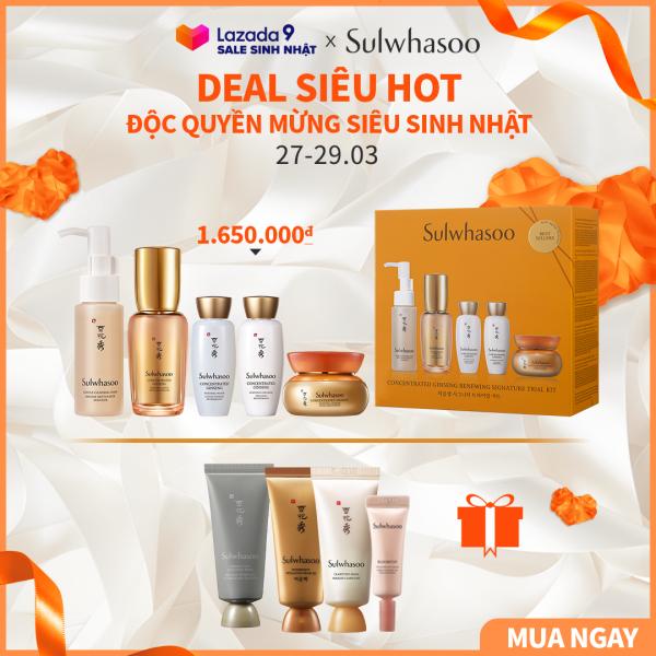 Bộ sản phẩm dưỡng da ngăn ngừa lão hóa chuyên sâu Sulwhasoo Concentrated Ginseng Renewing Set 5 items giá rẻ