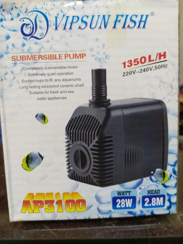 Máy bơm nước hồ cá cao cấp  AP3100 28W, lưu lượng 1350 lít/h - Đẩy cao: 2.5m- Phi ống: 18, 21
