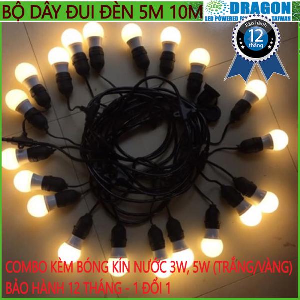 Kèm bóng kín nước - Bộ đui đèn ngoài trời trang trí 5m hay 10m kèm 10 đui - 15 đui - 20 đui loại chống nước E27