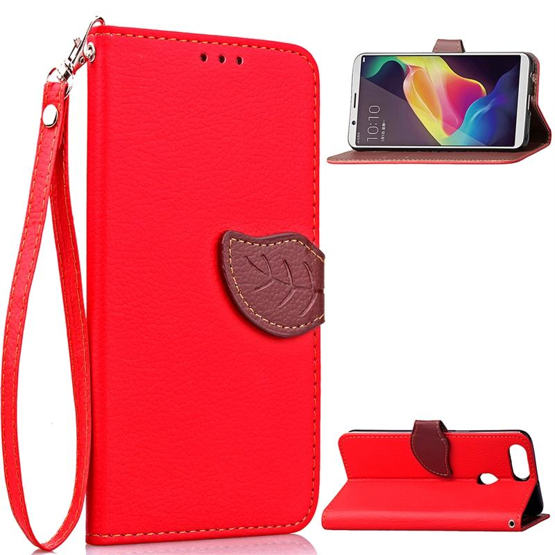 Case for OPPO R11s Leaf Design PU Leather Case Magnet Closed Flip Stand Cover with Wallet