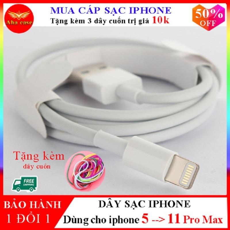 Dây Cáp Sạc iPhone  Chính Hãng Foxconn dành cho iphone 5, 6,6s, 6 plus,7, 7 Plus, 8, 8 Plus,X, Xs, Xs Max, 11Pro, 11 ProMax loại 5 chip bảo hành 1 đổi 1 + Tặng kèm 3 dây cuốn dây sạc