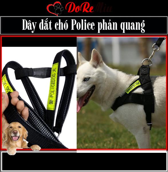 Doremiu- Bộ Dây dắt chó lớn kèm Yếm ngực POLICEDOG có phản quang (thường dùng cho chó cảnh khuyển nghiệp vụ)