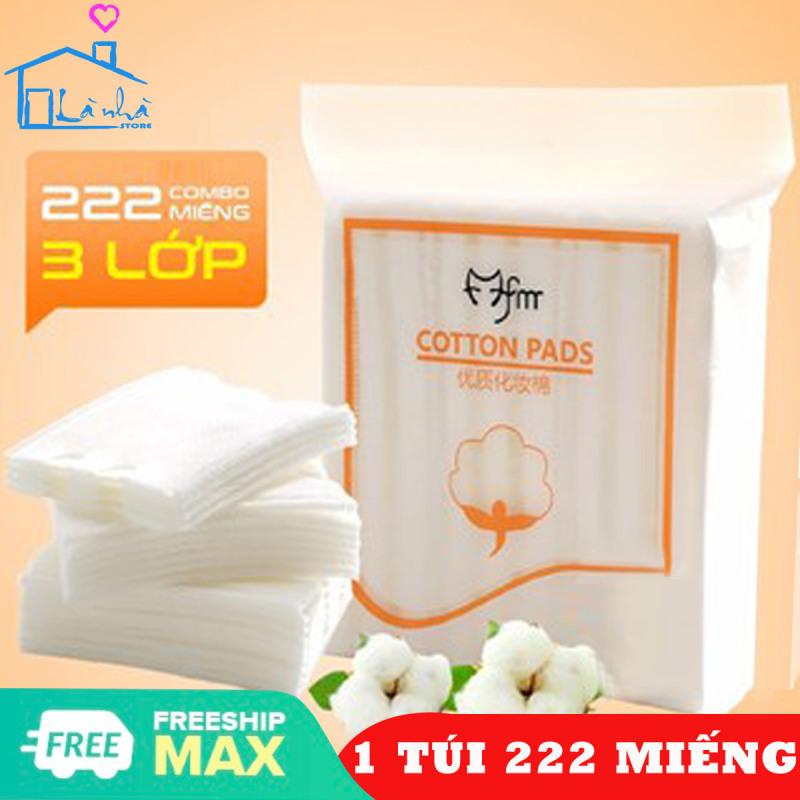 Bông tẩy trang 3 lớp Cotton Pads- Tẩy Phấn, Bụi Bẩn-[Túi 222 miếng]