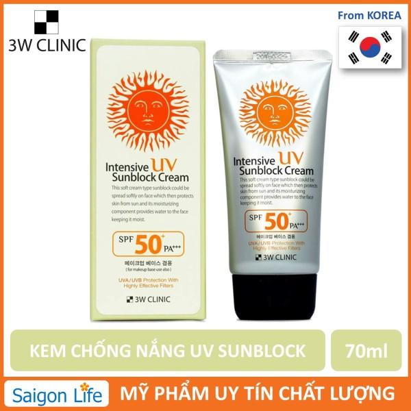 [Siêu Hot] Kem chống nắng 3W Clinic UV Sunblock Cream SPF 50+ PA+++ 70 ml giá rẻ